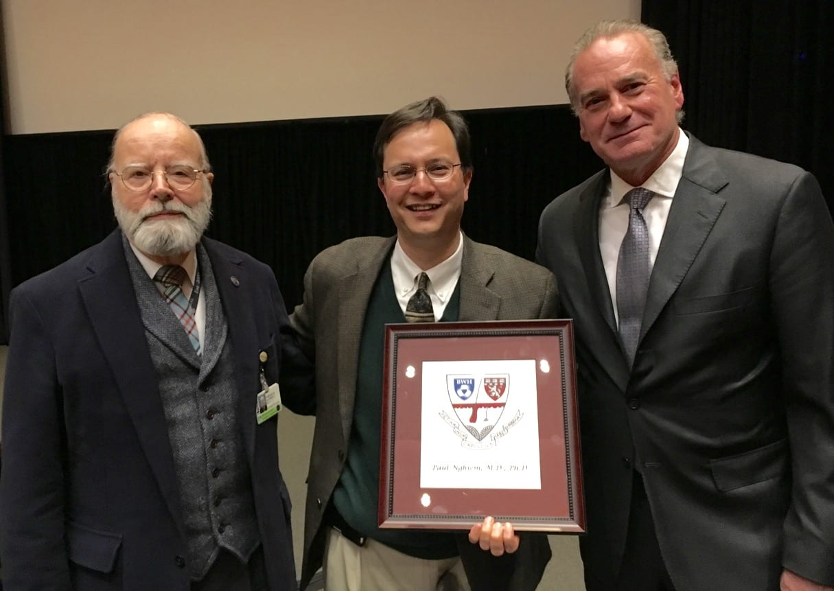 Celebrating the 6th Annual Harley Haynes Lectureship on March 21, 2016: Dr. Haynes Left, Dr. Paul Nghiem middle, Dr. Thomas Kupper Right, Chair of Dermatology at Brigham and Women's Hospital /Harvard Medical School.